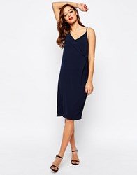 Asos Twist Front Cami Slip Dress Navy