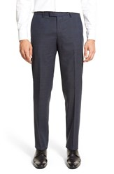 Men's Boss Flat Front Plaid Wool Trousers Blue
