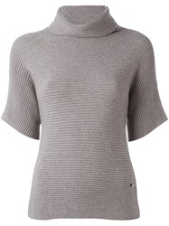 Fay Roll Neck Ribbed Blouse Nude And Neutrals
