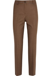 Michael Kors Collection Cropped Checked Wool Blend Tweed Straight Leg Pants Tan