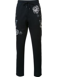 Dolce And Gabbana Floral Embroidered Track Pants Blue