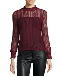 Romeo And Juliet Couture Sheer Stretch Lace Long Sleeve Top Burgundy