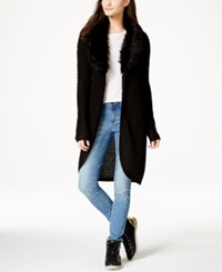 Material Girl Juniors' Faux Fur Collar Maxi Cardigan Only At Macy's Caviar Black