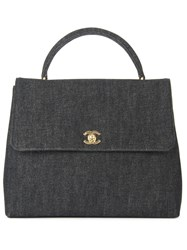 Chanel Vintage Denim Tote Black