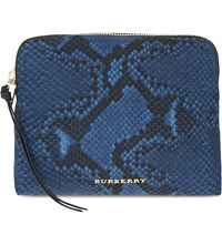 Burberry Snake Print Nylon Pouch Mineral Blue