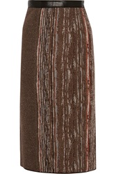 Missoni Leather Trimmed Metallic Stretch Knit Skirt Brown