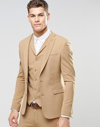 Asos Super Skinny Fit Suit Jacket In Camel Camel Beige