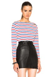 Saint Laurent Distressed Stripe Tee In Stripes Red Blue