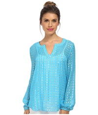 Lilly Pulitzer Colby Top Ariel Blue Crinkle Clip Women's Blouse Neutral