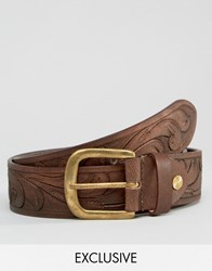 Reclaimed Vintage Embossed Leather Belt Brown