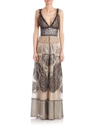 Alberta Ferretti Floor Length Sleeveless Lace Gown Nude