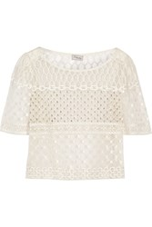 Temperley London Angeli Cropped Embellished Tulle Top White