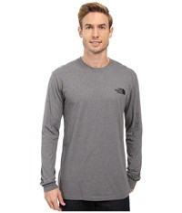 The North Face Long Sleeve Red Box Tee Tnf Medium Grey Heather Tnf Black Men's Long Sleeve Pullover Gray