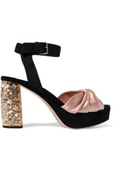 Miu Miu Crystal Embellished Satin And Suede Platform Sandals Antique Rose