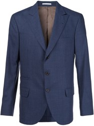 Brunello Cucinelli Three Button Blazer Blue