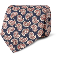 Dunhill Paisley Patterned Mulberry Silk Faille Tie Blue
