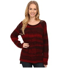 Calvin Klein Jeans Ombre Cable Crew Neck Sweater Cherry Red Women's Sweater