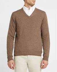 Hackett Beige Contrasting Elbow Patches V Neck Sweater