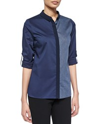Elie Tahari Tahlia Long Sleeve Colorblock Blouse Navy Yard