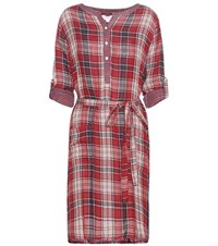 Velvet Check Cotton Dress Red