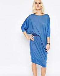 Paisie Jersey Midi Dress With Ruched Belt Blue
