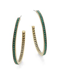 Heidi Daus The Way You Sparkle Swarovski Crystal And Multicolored Rhinestone Hoop Earrings 1.5 Gold Green