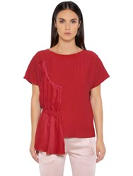 Maison Martin Margiela Fluid Viscose Top With Draped Panel