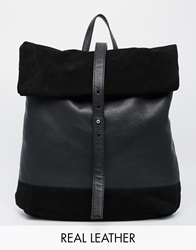 Asos Suede And Leather Roll Top Backpack Black