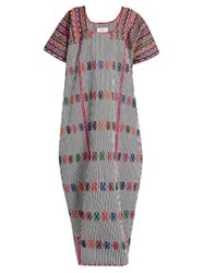 Pippa Holt Embroidered Striped Cotton Long Kaftan Purple Multi