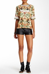 Eleven Paris Nolee Faux Leather Accent Short Black