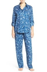 Lauren Ralph Lauren Petite Women's Paisley Cotton Blend Pajamas Blue Paisley