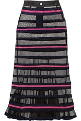 Sacai Striped Mesh And Grosgrain Maxi Skirt Blue