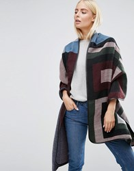 Asos Oversized Woven Long Jacquard Stripe And Block Scarf Multi