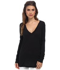 Lna 007 L S Deep V Neck Black Women's Long Sleeve Pullover