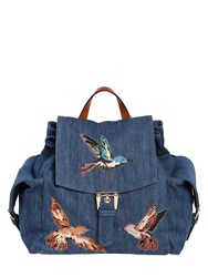 Red Valentino Cotton Denim Backpack W Bird Patches