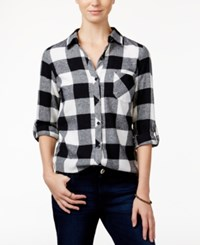 Polly And Esther Juniors' Plaid Flannel Shirt Ivory Black