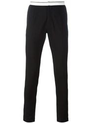 Dolce And Gabbana Contrast Waistband Trousers Black