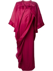 Givenchy Vintage Ruffled Asymmetric Chiffon Gown Pink And Purple