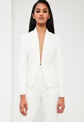 Missguided White Pleat Detail Tailored Jacket