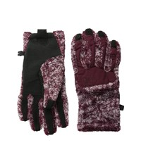 The North Face Women's Denali Thermal Etip Glove Deep Garnet Red Marble Print Extreme Cold Weather Gloves Brown