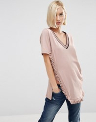 Asos T Shirt With V Neck And Tipped Ruffle In Longline Blush Grey