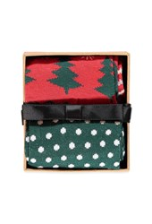 Forever 21 Holiday Crew Socks Pack Green Red