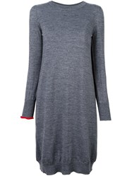 Erika Cavallini Contrast Sleeve Knitted Dress Grey