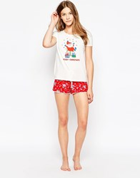 Cath Kidston Bramley Sprig Tee And Short Pyjama Set Red