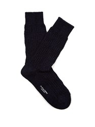 Blue Blue Japan Geometric Ribbed Knit Cotton Blend Socks Navy