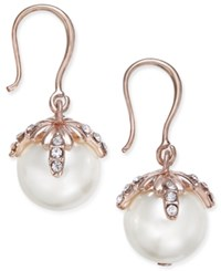 Charter Club Rose Gold Tone Imitation Pearl And Pave Drop Earrings Only At Macy's