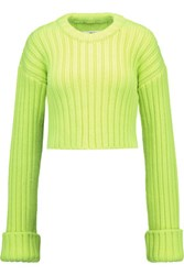 Maison Martin Margiela Mm6 Neon Cropped Wool Sweater Chartreuse