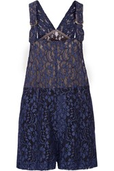 Msgm Lace Playsuit Blue
