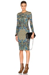 Givenchy Scarf Motif Shiny Jersey Dress In Blue Yellow Abstract Blue Yellow Abstract