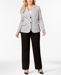 Le Suit Plus Size Tweed Jacket Pantsuit Grey Multi